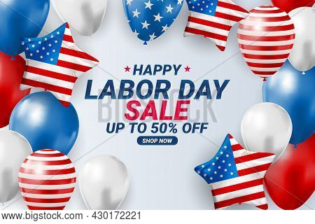 Happy Usa Labor Day Sale Poster Background. Vector Illustration