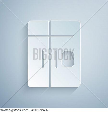 Paper Cut Refrigerator Icon Isolated On Grey Background. Fridge Freezer Refrigerator. Household Tech