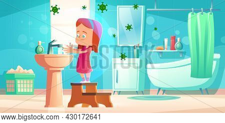 Girl Wash Hands In Bathroom With Flying Bacterias. Vector Cartoon Illustration Of Child Standing On