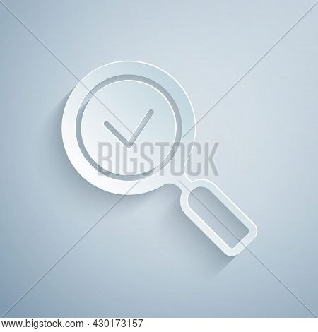 Paper Cut Magnifying Glass With Check Mark Icon Isolated On Grey Background. Search, Focus, Zoom, Bu