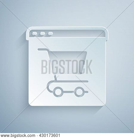 Paper Cut Online Shopping On Screen Icon Isolated On Grey Background. Concept E-commerce, E-business