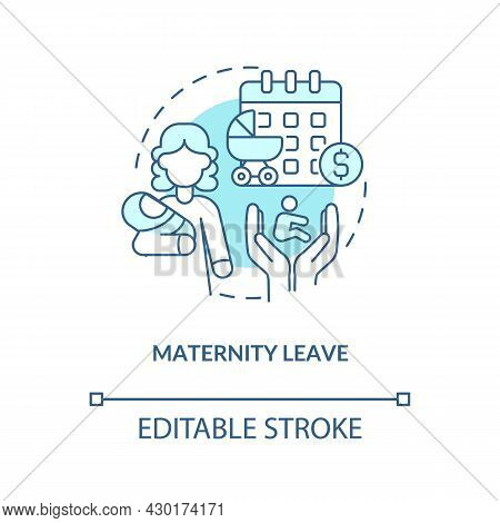 Maternity Leave Blue Concept Icon . Maternity Rights And Allowance Abstract Idea Thin Line Illustrat