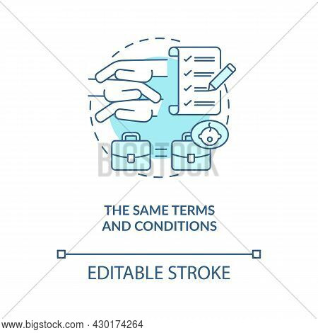 Same Terms And Conditions Blue Concept Icon . Get Back To Work After Parental Leave Abstract Idea Th