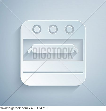 Paper Cut Oven Icon Isolated On Grey Background. Stove Gas Oven Sign. Paper Art Style. Vector
