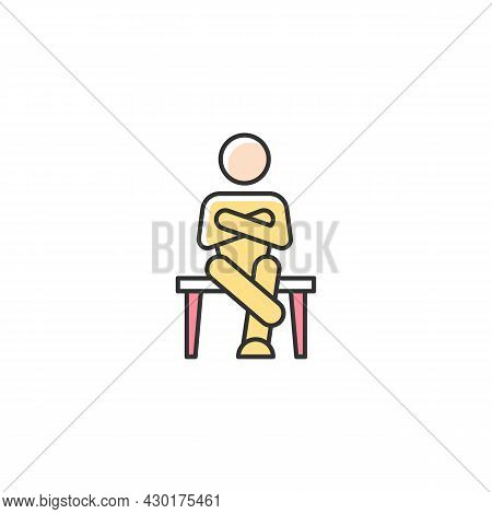 Closed Body Language Rgb Color Icon. Crossed Legs, Arms. Showing Discomfort. Person With Closed Pers