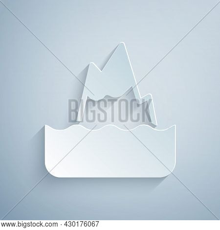 Paper Cut Iceberg Icon Isolated On Grey Background. Paper Art Style. Vector