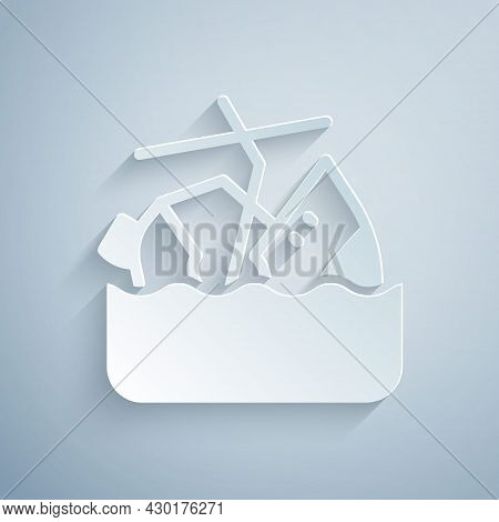 Paper Cut Sinking Cruise Ship Icon Isolated On Grey Background. Travel Tourism Nautical Transport. V