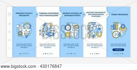Loyalty Program Tendencies Onboarding Vector Template. Responsive Mobile Website With Icons. Web Pag