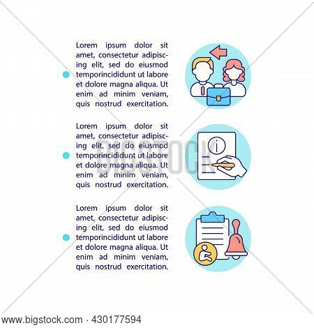 Inform Your Employer In Writing Concept Line Icons With Text. Ppt Page Vector Template With Copy Spa
