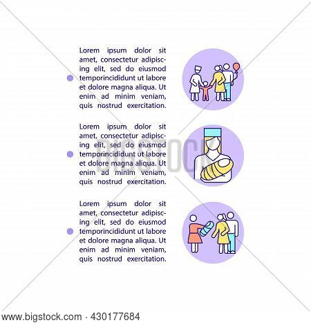 Adoption And Surrogacy Concept Line Icons With Text. Ppt Page Vector Template With Copy Space. Broch