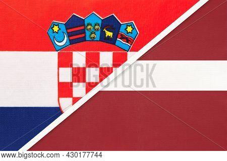 Croatia And Latvia, Symbol Of Country. Croatian Vs Latvian National Flags.