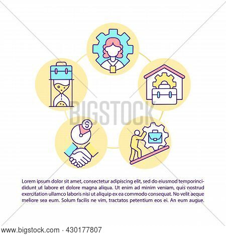 Casual Workers And Self-employed Citizens Concept Line Icons With Text. Ppt Page Vector Template Wit