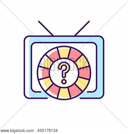 Game Show Rgb Color Icon. Broadcasting Television Program For Entertainment. Wheel Lottery For Chanc