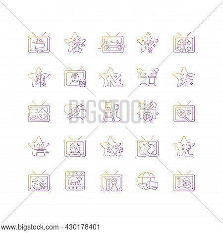 Tv Show Gradient Linear Vector Icons Set. Television Entertainment. Media Fun Series. Reality Show A