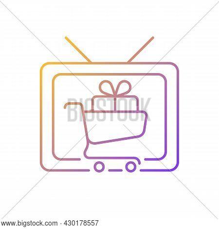 Shopping Show Gradient Linear Vector Icon. Teleshopping Program. Television Entertainment. Tv Show A