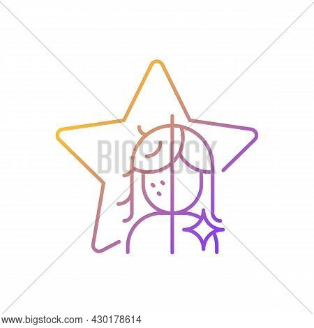 Transformation Show Gradient Linear Vector Icon. Beauty Makeover For Women On Television Entertainme