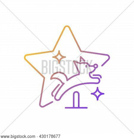 Pet Training Show Gradient Linear Vector Icon. Dog Tricks Competition. Doggy Exhibition. Animal Tele