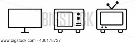 Tv Icons Set. Television Symbol In Black. Tv Icon Collection. Transparent Television Screen. Modern