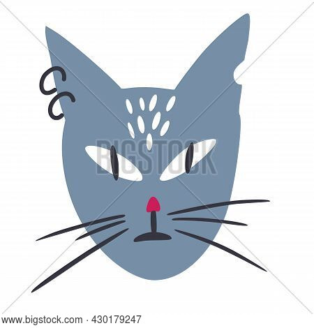 Cat Muzzle. Funny Cat With A Piercing And A Gnawed Ear. Portrait Of Cute Childish Domestic Animal. S