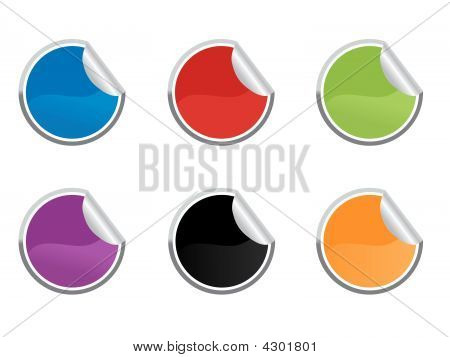 Six Colored  Sticky Label For Price Or Another Design.