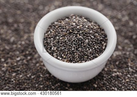 Organic Chia Seed, Super Food In A Bowl With Background