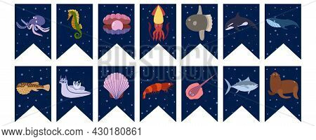 Flags Garland For Birthday Party With Sea Animals On Colorful Dark Blue Background. Octopus And Seah