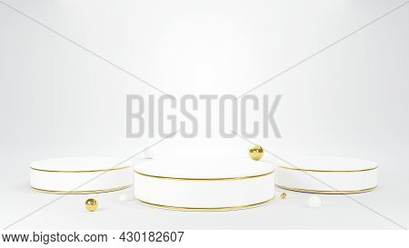 3d Podium, White Round Pillar Stand Scene And Small Ball On The Floor Platforms Minimal Mock Up Stag
