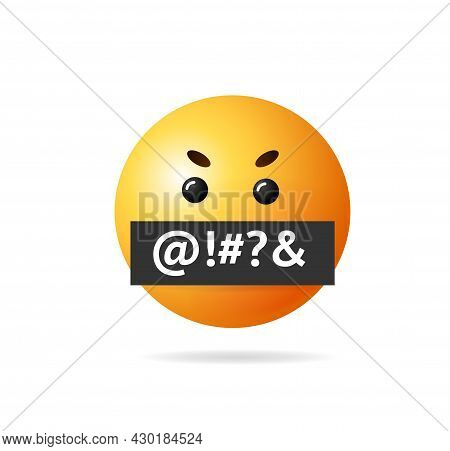Realistic Detailed 3d Angry Emoji Obscene Language Sign Symbol Of Rage, Grumpy, Stress And Pressure