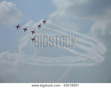 Red Arrows On Hawk T1 Flight