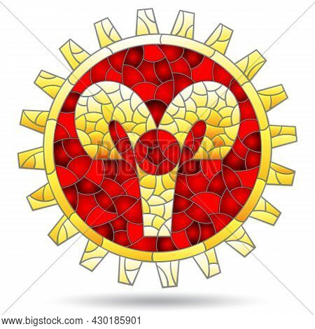 Illustration In The Style Of A Stained Glass Window With The Zodiac Sign Aries, The Sign Is Isolated