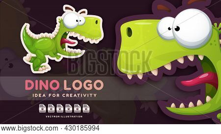 Cartoon Character Crazy Animal Dinosaur - Kids Sticker. Vector Eps 1