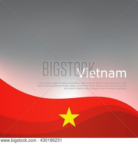 Abstract Waving Vietnam Flag. Creative Shining Background For Design Of Patriotic Vietnamese Holiday
