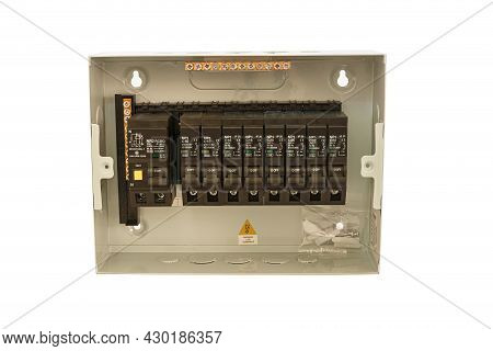 Consumer Unit Inside The Box With Automatic Fuses And Switchboard With Circuit Breakers. . Electrica