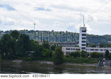 Koblenz, Germany - August 10th 2021: Tower Of The Firefighter Building At The Mosel