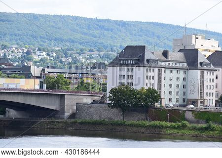Koblenz, Germany - August 10th 2021: Bridge Across The Mosel Into Old Town