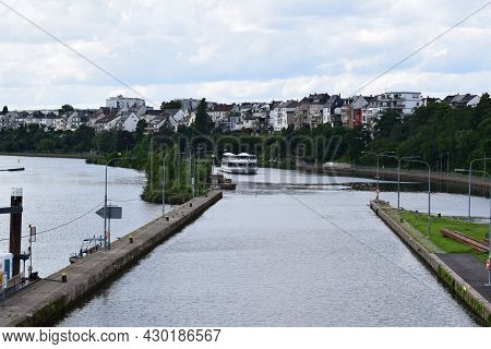 Koblenz, Germany - August 10th 2021: River Lock Of The Mosel With An Entering Ship