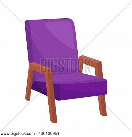 Bright Purple Armchair On White Background, Vector Illustration