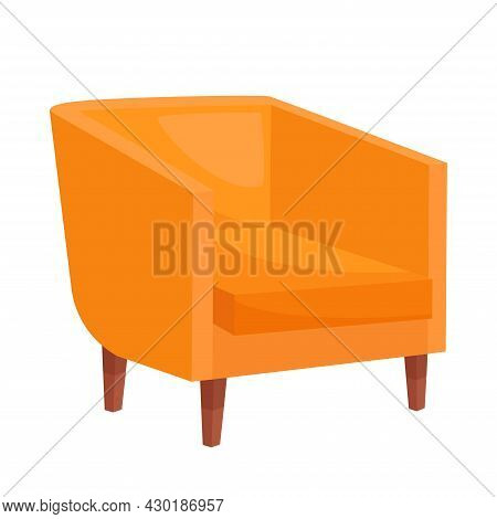 Cozy Orange Armchair On White Background, Vector Illustration