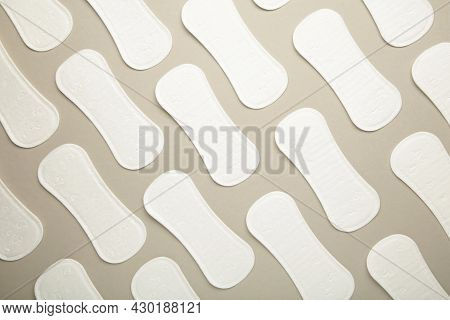 Menstruation Cycle, Feminine Hygiene And Protection, Sanitary Pad On Grey Background, Top View, Flat