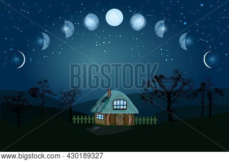 Moon Phases. Whole Cycle From New Moon To Full. Cartoon Moon Phase. Lunar Cycle Change. New, Waxing,