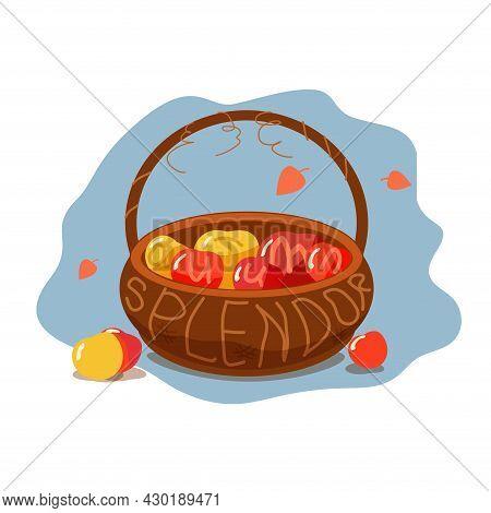 Ripe Apples In A Basket With The Inscription Autumn Splendor. Simple Flat Illustration Of Autumn Har
