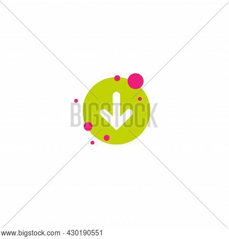 White Rounded Arrow Down In Green Circle With Bubbles Icon. Flat Download Sign Isolated On White. Po