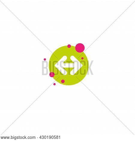 Two White Opposite Horizontal Arrows In Green Isolated On White. Flat Icon. Exchange Icon. Good For