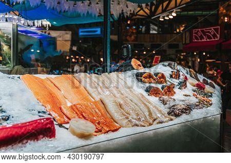Fillet Of Fresh Fish On Ice. Farmers Seafood Market, Supermarket. Sale Of Seafood, Fish Steaks