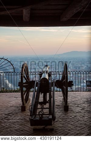 Cannon On The Wall Of The Schlossberg Hill Of Graz, Austria Is Aimed To Defend The City.