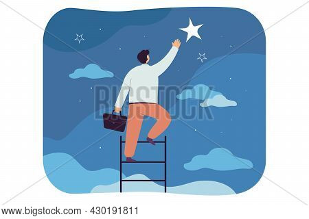 Businessman Catching Star, Climbing Ladder To Sky. Flat Vector Illustration. Man Striving For Succes