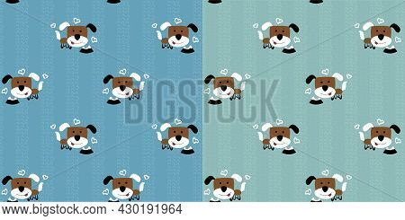 Funny Brown Puppies With Multi-colored Ears. Cute Dogs And A Plate With Bones On A Turquoise Backgro