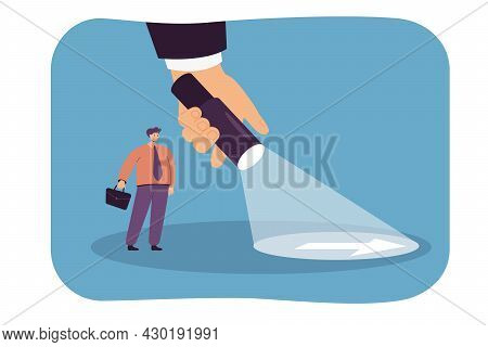 Giant Hand Shining Flashlight In Front Of Businessman. Flat Vector Illustration. Tiny Person Searchi