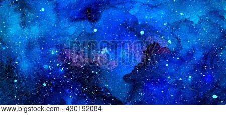 Vector Cosmic Illustration. Beautiful Colorful Space Background. Watercolor Cosmos