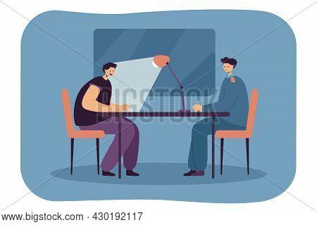 Police Officer Interrogating Criminal In Dark Room. Flat Vector Illustration. Suspect Sitting At Tab